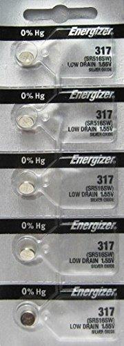 5pk Energizer 317 Silver Oxide Low Drain Watch Batteries SR516SW SR62