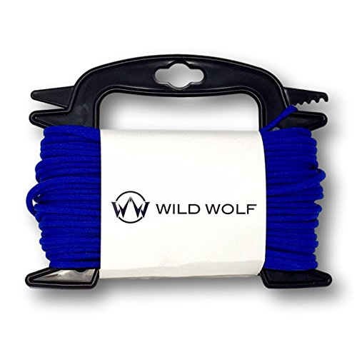 100 Feet of Blue Paracord by Wild Wolf Pack On Winder for Tangle-Free 550 Lb Parachute Survival Craft Cord -
