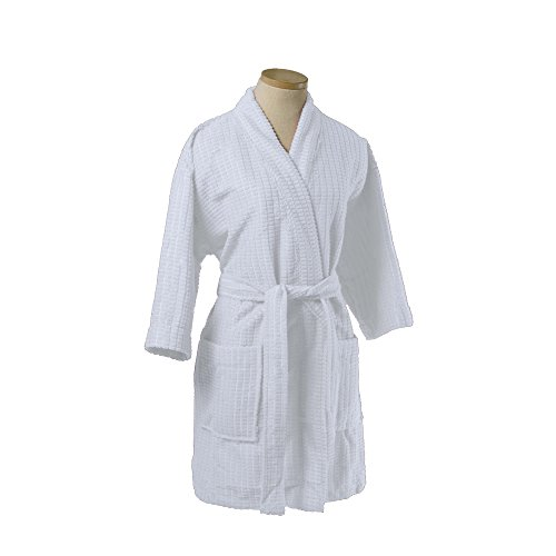 100% Microfiber Waffle Women Robe, One Size, White Color