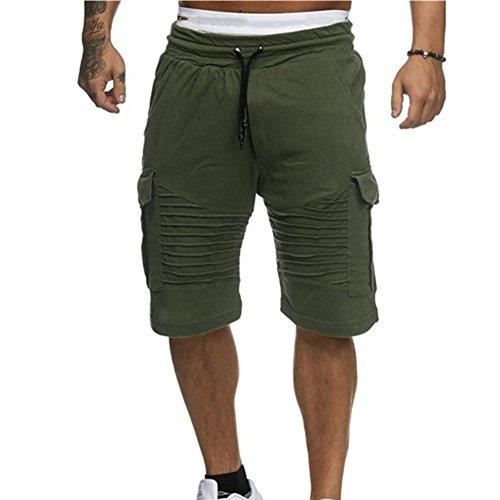 JJLIEKR Men High Waist Multi Pocket Drawstring Elastic Waist Half Pants Active Athletic Shorts Sweat Resistant Running Green (Duke Golf Gear)
