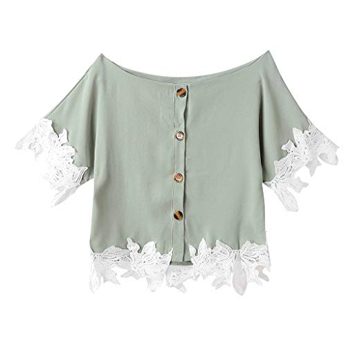 NCCIYAZ Womens Crop Top T-Shirt Embroidered Applique Summer Short Sleeve O-Neck Button Ladies Tee Blouse(L(8),Green)