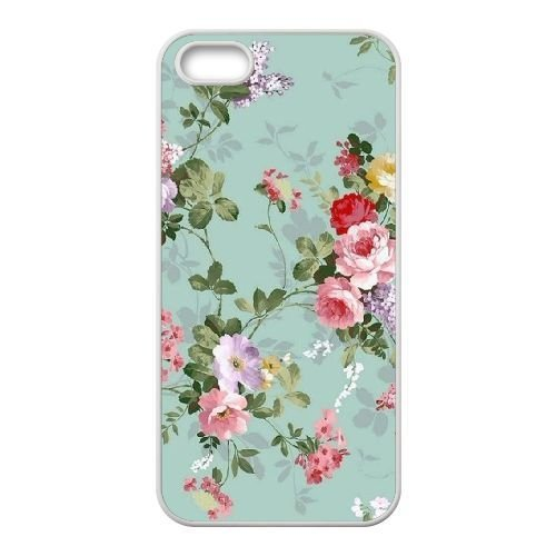 FDXGW645 iPhone 5 5s Cell Phone Case-white_Retro Flower (14)