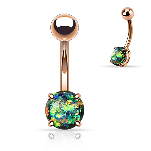 {Dark Green}Prong Glitter Synthetic Opal Rose Gold IP Surgical Steel Navel Belly Button Ring (Sold Ind) (Gemstones Green Bioplast)
