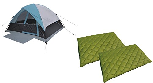 High Peak USA Alpinizmo Moffit 6 Men Tent + 2 Florida 0F Sleeping Bags Combo Set, Blue/Green, One (High Peak Camping Tents)