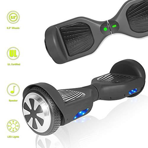 TechClic Electric Hoverboard Self-Balancing 6.5 Inch Wheel Built in Speaker LED Headlight UL Certifie (Solid Black)
