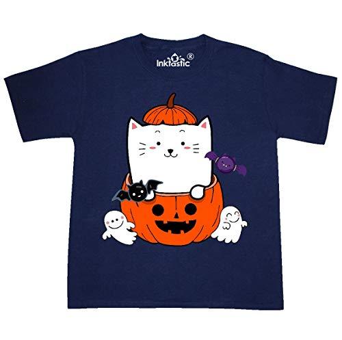 (inktastic - Halloween Pumpkin Youth T-Shirt Youth X-Large (18-20) Navy)