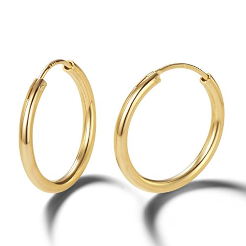 (Carleen 14K Yellow Gold Plated 925 Sterling Silver Dainty Endless Hoop Earrings for Women Girls (20mm))