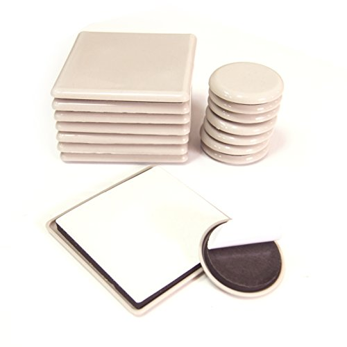 16 Furniture Sliders Furniture Pads for Carpeted Hardwood Laminated Flooring Furniture Movers Carpet Sliders Easy Gliders Hard Surfaces Floors Protector Moving Kit - 8 Round & 8 Square Adhesive ()