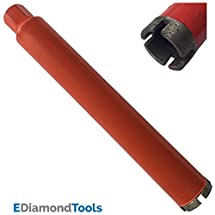 "Wet Drill Core Bits for Hard Concrete, Granite, Brick, and Block - 2"" Diameter 1-1/4""-7 Threaded #30/40 Diamond Grits"