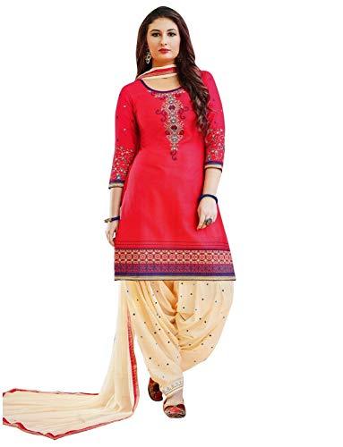 Ladyline Ready to Wear Cotton Embroidered Patiala Salwar Kameez Women's Dress (Size_48/ Dark Pink)