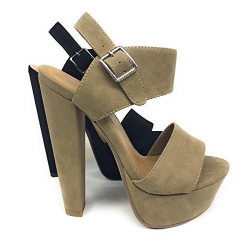 Women's Key Open Toe Ankle Strap Platform Chunky Block Heel Sandal (8.5 B(M) US, Light Taupe DISPU)