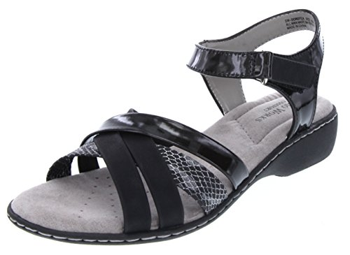 Pro Womens Sandals Sandal (SW Women's Dorotea Strappy Heeled Sandal with Buckle Closure 9.5 Black)