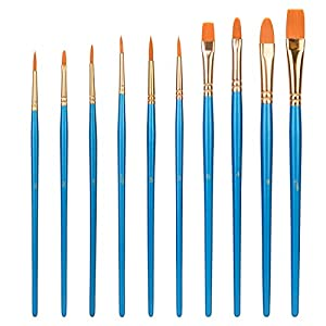 Amazon Basics Art Paint Brush Set, 10 Different Sizes for Artists, Adults & Kids