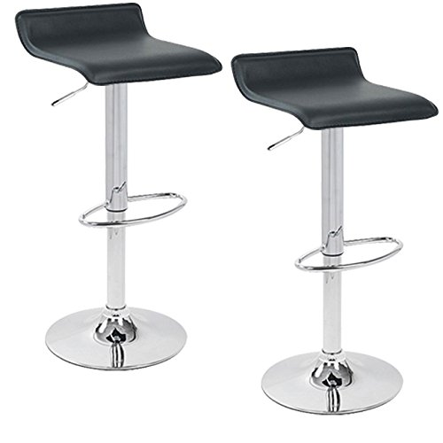 Apontus PU Leather Swivel Hydraulic Bar Stool, Set of 2 (Black) For Sale