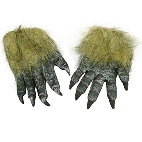 AOXIANG 1 Pair Halloween Coss Play Terror Scary Horror Animal Wolf Glove Entire Masquerade Cosplay Latex mask Product Designs (Black) -