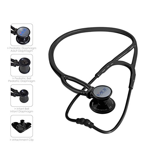 MDF ProCardial ERA Cardiology Lightweight Dual Head Stethoscope with Adult, Pediatric, and Infant-Neonatal convertible chestpiece - All Black (MDF797X-BO) by MDF Instruments