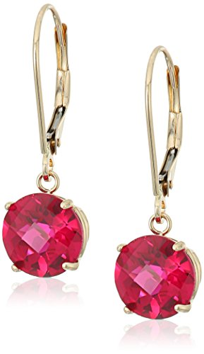 10k Yellow Gold Round Checkerboard Cut Created Ruby Leverback Earrings (8mm)