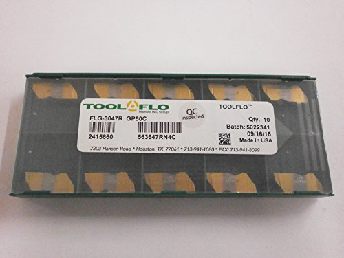 Tool Flo Grooving Inserts - 10pc) Tool-Flo FLG 3047R GP50C Carbide Grooving Insert Top Notch Coated NG 3047R .047