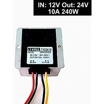 DC 12v to 24v Step up Converter Regulator 10A 240W Power Supply Adapter for Motor Car Truck Vehicle Boat Solar System etc.(Accept DC9-20V Inputs)