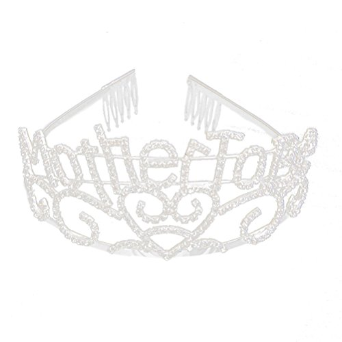 Mother To Be Silver Tiara Hearts Crown with Sparkling Rhinestones