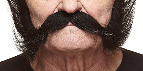 Halloween Facial Hair - Austrian Emperor black fake mustache, self adhesive