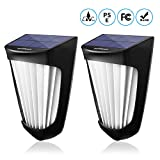 Solar Lights Outdoor, OPERNEE Wireless 10Led Solar Fence Lights, Waterproof Wall Mount Decorative Lights with Auto ON/Off for Porch, Patio, Deck, Yard, Garden (2 Pack)