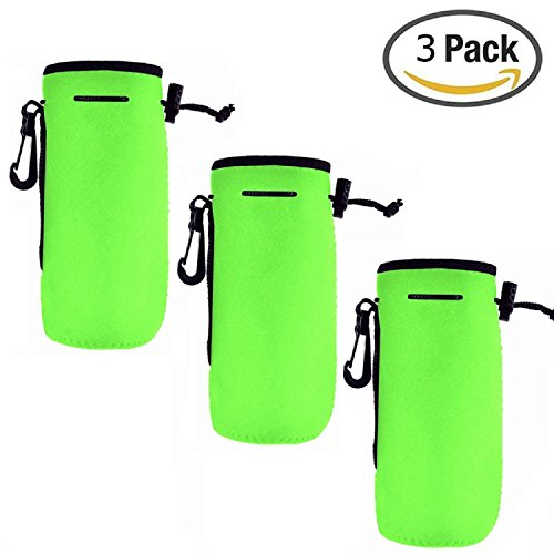 16 Ounce Sack - Af-Wan 3pcs Water Bottle Cooler Carrier with Adjustable Shoulder Strap,Protable Neoprene Insulated Water Drink Bottle Cover Sleeve Tote Bag Pouch Holder Strap 16oz - 20oz water.