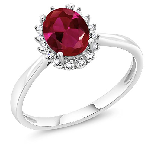 10K White Gold 1.15 Ct Oval Red Created Ruby Engagement Ring with Diamonds