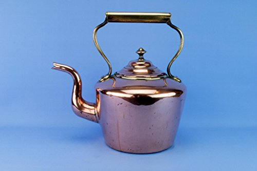 Large Copper Brass Kettle Tapered Antique Victorian English Mid 19th Century by Lavish Shoestring