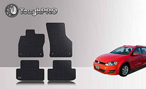 (ToughPRO Floor Mats Set (Front Row + 2nd Row) Compatible with Volkswagen Golf SportWagen - All Weather - Heavy Duty - (Made in USA) - Black Rubber - 2016, 2017, 2018, 2019)