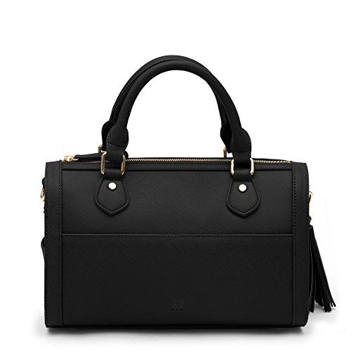 (Marsi Bond Classic Vegan Faux Leather Barrel Bag Inspired Duffle Satchel Purse Black)