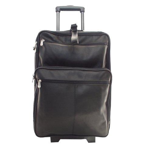 Piel Traveler Case (Piel Leather 22 Inch Wheeled Traveler, Black, One Size)