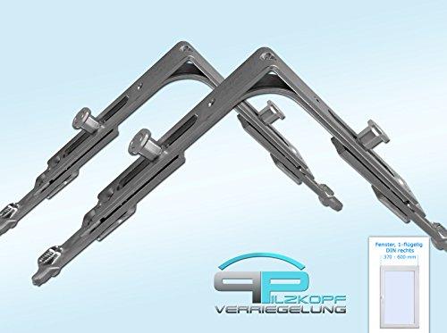 Pilzkopfverriegelung - Nachrüstsatz für Kunststofffenster - Fensterbreite 370 mm - 600 mm, Fensterhöhe 400 mm - 510 mm / DIN...