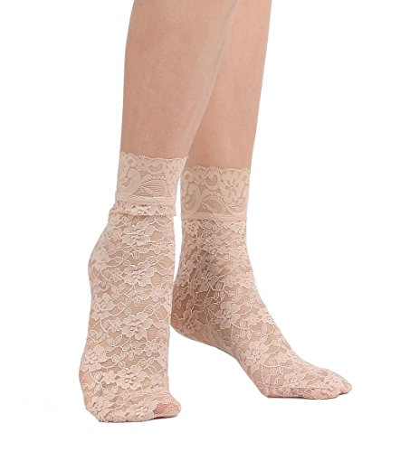 Women's Lace Ankle Socks (One Size : Regular, Floral - Skin Beige 3pair)