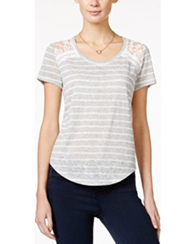 Maison Jules Striped Lace-Inset T-Shirt, Grey/White, -