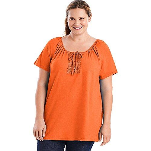 Just My Size Women's Plus-Size Slub Jersey Crochet Trim Tunic With Drawcord, Tangy Melon, 3X