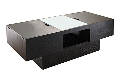 ioHOMES Lansing Rectangular Coffee Table with Storage, Black