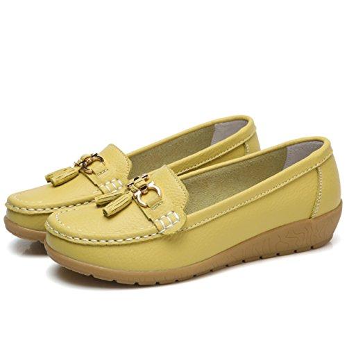 Moonwalker Women's Leather Slip-on Comfort Tassel Loafers Moccasins Lemon wvGb1t7