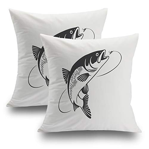 Shrahala Fish Pillow Cover, Decorative Pillowcases Flyfishing Cushion Case for Sofa Bedroom Car Throw Pillow Covers Cushion Cover Square 18 x 18 Inches Black, Set of 2