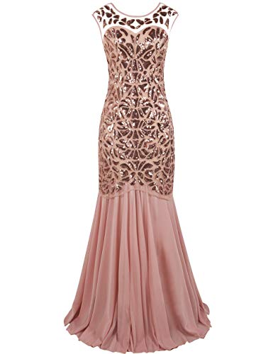 kayamiya Women's 20s Beaded Floral Maxi Long Gatsby Flapper Prom Dress 1X Pink (Gown Slim Prom)