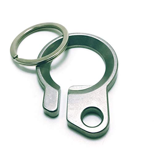 Durable Brass Bottle Opener Keychains Keyring Belt Clip in Silver Finish. EDC Kits Hanging Ring
