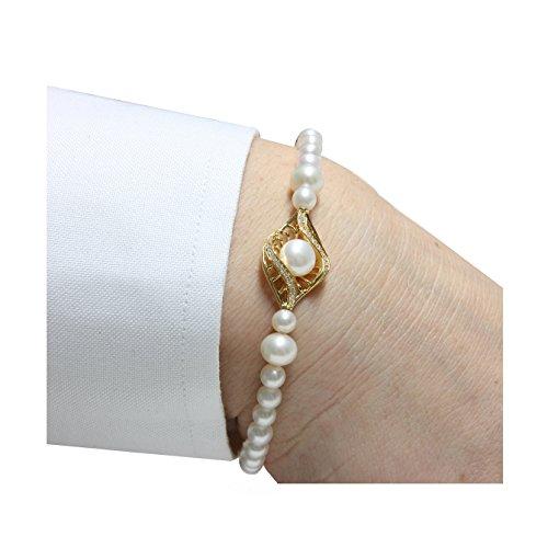 Mayumi-Bracelet Perles Parfaite Perlagione 1/4 2 1/2 X 6 X 7-7/8 mm-Argent 925-Rh ° ° ° Jaune C.Z.