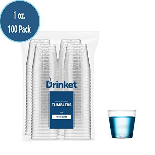 DRINKET CLEAR PLASTIC SHOT GLASSES 1 OZ - Disposable Shot Glasses Bulk - Wine Tasting Cups - Small Plastic Tumbler - Shooter, Whiskey Mini Jello Shot Cups - Hard Small Plastic Cups Bulk - 100 Pack.
