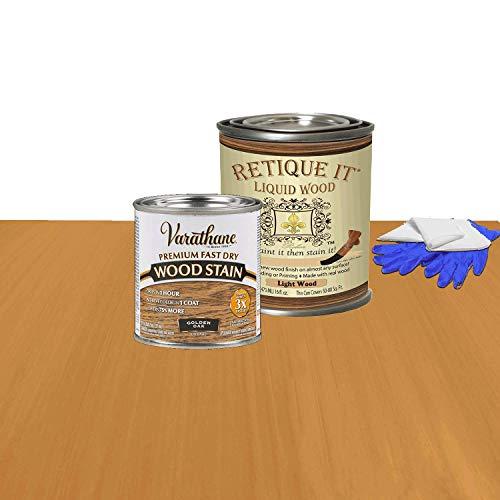 Retique It Liquid Wood - Pint Light with Golden Oak Stain - Stainable Wood Fiber Paint - Put a fresh coat of wood on it (16oz LW, Golden Oak)
