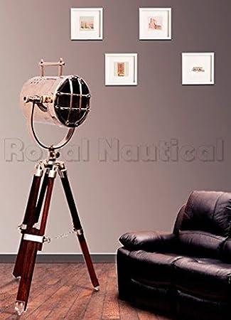 Maritime Vintage Designer Floor Lamp Searchlight Wooden Tripod Home ...