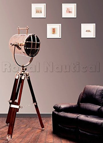 Maritime Vintage Designer Floor Lamp Searchlight Wooden Tripod Home Decor Lamp Chrome Finish
