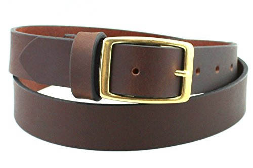 Soft Chestnut Brass Men's Leather Belt Full Grain Solid Custom Hand Made USA 1.25 and 1.5 Inch (Filson Leather Belt compare prices)