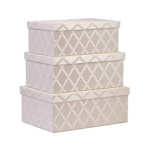 Storage Bins with Lid 3-pcs Set - Fabric Decorative Storage Boxes with Lids - Shelf Closet Organizer Basket - Stylish Decor Bin Fits in Any Room - Large/Medium/Small Sizes (Off-White)
