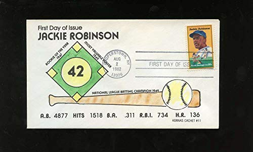 Jackie Robinson First Day Issue Color Stats Black Heritage Series Letter Envelope Cooperstown Stamp Brooklyn Dodgers