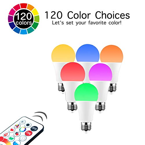 LED Color Changing Light Bulb, 120 Colors, 70 Watt Equivalent with Remote Control RGBW RGB Daylight and White – Timing Function - A19 E26 Edison Screw (2 Pack)